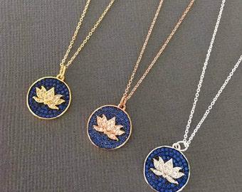Lotus Necklace, Lotus Jewelry, Lotus Flower necklace, Lotus411, Sparkling lotus flower charm necklace, Pure, Buddhist jewelry, Yoga jewelry