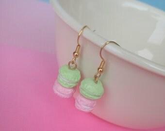Double Macaron Earrings, Food Polymer Clay Jewelry Earrings, Cute Kawaii Clay, Food Jewelry
