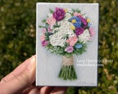 SPECIAL listing for Mindy...Itty Bitty Bouquet Painting in OIL by LARA 3x4 Wedding Gift Couple First Anniversary Miniature