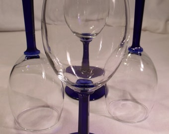 Crystal Wine Glasses with Cobalt Stems set of 4