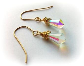 Crystal Earrings, Wire Wrapped Crystal Earrings, Crystal Drop Earrings, Gold Crystal Earrings, Clear AB Crystal Earrings, Gold Earrings