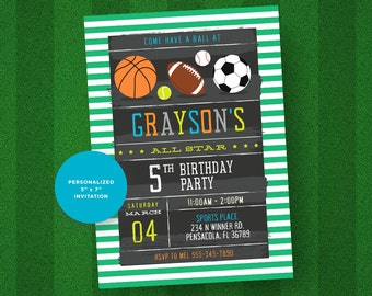 Sports Invitation. Sports Birthday Invitation. Sports Birthday Party.  Sports Party Printable Invitation.
