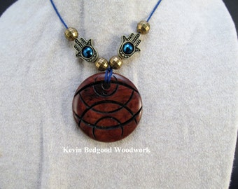 Necklace with beads hand made Australian Grey Box Burl