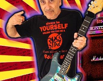 Rock Star T Shirt Music T Shirts-Be Your Self T Shirt 100% Cotton Black S-2XL