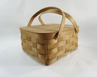 Split Oak Picnic Basket, Woven Basket w/ Handles, Basket, Hospital Logo Inside Lid, Lined w/ Blue White Check Fabric, LOTS of SURFACE STAINS