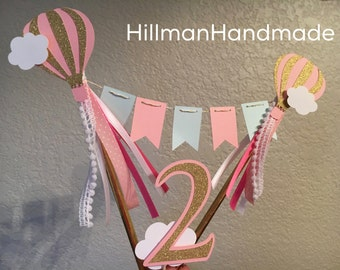 Hot Air Balloon Cake Topper, Hot Air Balloon Cake Bunting, Cake Bunting, Cake Topper, Birthday Cake Bunting