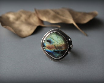 Labradorite Ring Big flashy Rainbow Colors Faceted Sterling Silver