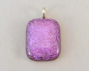 Pink Dichroic Fused Glass Pendant, Fused Glass, Fused Glass Pendant, Glass Pendant, Dichroic Pendant, Necklace Pendant, Pink, Pendent