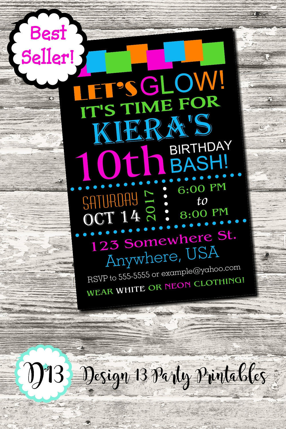 Priceless image with regard to free printable glow party invitations