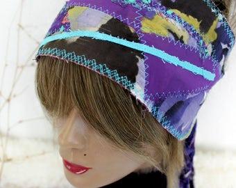 Hippie Headband, Purple Headband, Hippie Head, Wear Festival, Purple Dread Band, Dread Wrap Women's Christmas gift, Intergalactic Clothing