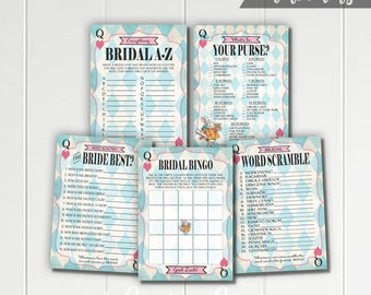 Alice in Wonderland Printable Bridal Shower Games - Bingo - Word Scramble - Who Knows Bride Best - What's In Your Purse - Blue Mad Tea Party