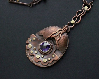 Mixed metal pendant with purple cubic zirconia, OOAK necklace, copper jewelry, long chain handmade necklace, gift for her, artisan pendant