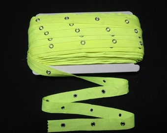 3/4 Inch NEON GREEN Eyelet Grommet Twill Tape, Nickel Eyes, 3/16 In. Inside Eyelet, By the YARD, Lace-Up Garment, Steampunk, Sewing Trim