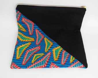 African Fabric - Fold-Over Clutch | Stripes | Red | Yellow | Blue | Triangle Accent
