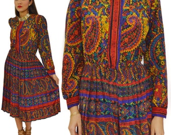 Vintage 70s Paisley Floral Psychedelic Multi-Color Secretary Style Pleated Skirt Dress