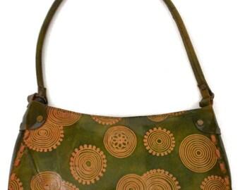 Vintage 90s Hippie Hobo Circular Pattern Design Off Shoulder Bag Purse