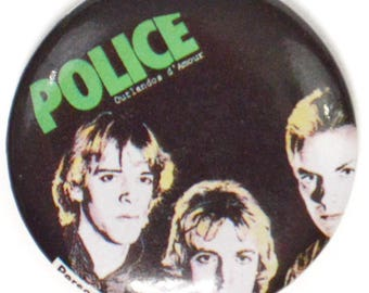 Vintage 80s The Police Outlandos d'Amour Pinback Button Pin Badge