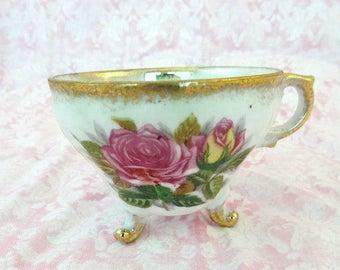 Vintage Lusterware Pink Rose Footed Tea Cup Vintage Gold Lusterware Tea Cup with 3 Feet