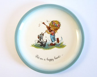 Put on a Happy Heart - Vintage Ceramic Art Plate - American Greetings Collectible Plate - Big Eye Girl Art - Inspirational Quote Wall Decor