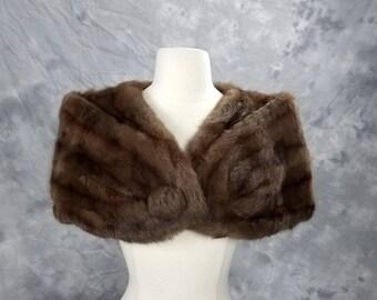 1950s mink fur capelet, brown authentic real fur, Vintage Rhodes of Seattle