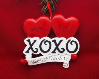 FREE SHIPPING XOXO Personalized Christmas Ornament / Valentine's Day / First Christmas / Love / Engagement / Girlfriend Gift / Wedding