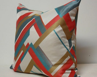 Chevron pillow cover, linear pillow cover, red blue gold pillow, pillows with color lines,red white and blue pillow