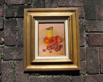 Still Life Oil Painting Signed Pribble. This is an Oil on Board of a Pitcher and a Peach and some Grapes. Nice