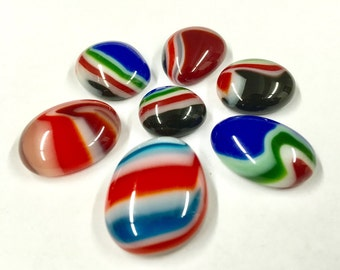 Mosaic Glass Cabochons  7 pieces
