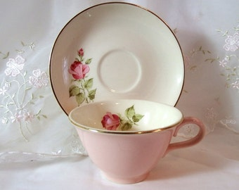 Vintage 1950s TST140 Tea Cup and Saucer by Taylor, Smith & Taylor, Pink/Red Roses, Goldtrim