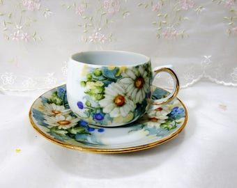 Vintage 1960s, Teacup and Saucer, White Daisies, Bachelor Buttons in Blue and Pink with Pretty Foilage and Gold Accents