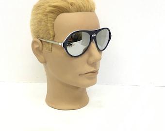 Vintage Sunglasses / Mirror Aviator glasses / Red White Blue / Italian Baruffaldi / ski sunglasses / Italian Sunglasses