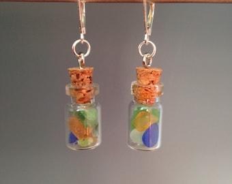 "Sea Glass Earrings, Beach glass earrings, Sea glass jewelry, gift idea, whimsical earrings, Holiday gift, ""Beach Bottle"""