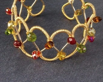 Wire Bracelet - Wire Wrapped Bracelet - Crystal Cuff Bracelet - Gold Bracelet - Artisan Jewelry - Wire Jewelry - Victorian Cuff Autumn