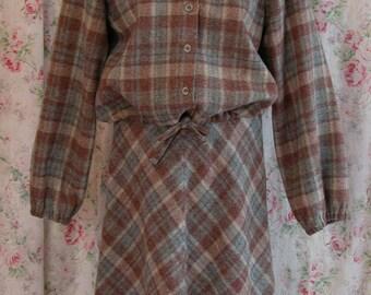 70s Suit Dress - Plaid Wool Jacket & A Line Skirt Set - NWT - Gayle Kirkpatrick for Tudor Square - Excellent Condition - Vintage Size 12