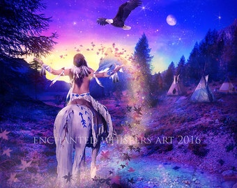 Native American on horse fantasy art print