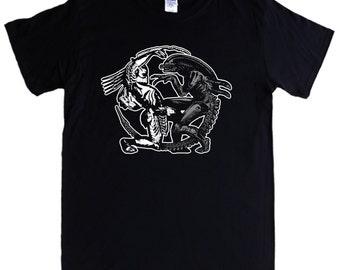 ALIEN V PREDATOR T-shirt S - 5XL sci fi movie film queen - Screen printed not transfer