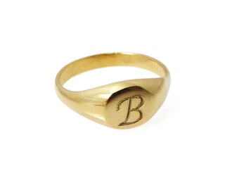 14kt solid gold, Pinky monogram ring. Personalized ring, Unisex ring, gift for him, personalized jewelry, gold initial ring,gift for her