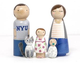 Dollhouse Family - Peg Doll Family - Wooden Toys - Wooden Waldorf Toys - Peg Dolls - Waldorf Peg People - Montessori Toys - Gift for Kids