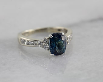 Unique Blue-Green Sapphire Ring with Diamond Accents QVH2QL-P