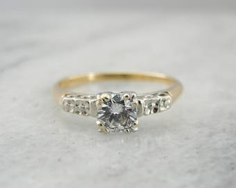 Classic 1940's Diamond Solitaire Engagement Ring K4UM2T-R