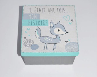 Wooden keepsake box - once upon a time my story - turquoise deer