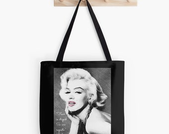 Marilyn Monroe Tote Bag, Marilyn Monroe Quote, Classic Hollywood Tote Bag, Market Bag, Shopping Bag, Black Gray and White, Custom Tote Bag