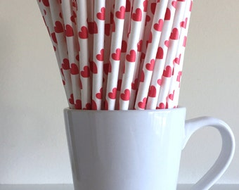 Valentine's Day Straws Heart Paper Straws Red Heart Straws Party Supplies Wedding Decor Bar Cart Cake Pop Sticks Mason Jar Straws Graduation