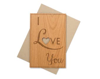 Romantic 5th Anniversary Gifts. Valentine Cards for Him, Her, Wife, Husband, Boyfriend. I Love You Card Wood. Laser Cut Wood Card.
