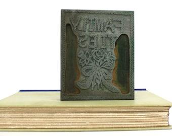 """Vintage Printing Letterpress Floral Printers Block """"Family Ties"""" Printers Cut"""