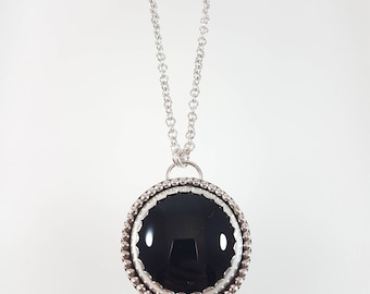 Sterling Silver Onyx Necklace, onyx Jewelry