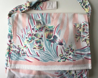 Vintage Tablecloth Messenger Bag with adjustable strap and pockets