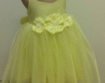 Lemon Yellow Natural Cotton Tutu Flower Girl Dress, Fabric Flowers and Pearls, Girls Dress, Country Wedding...Choose Your Colors