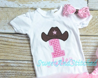 Cowboy Cowgirl Rodeo First (1st) Birthday outfit - PINK - cowgirl rodeo birthday, cowgirl first birthday, cowboy birthday outfit