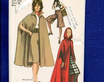 1970's Simplicity 9249 British Invasion Cape or Hooded Cloak & Culottes Size 10 UNCUT